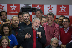 July 13, 2017 - Sao Paulo, Sao Paulo, Brazil - Former President of Brazil, LUIZ INACIO LULA DA SILVA, gives a press conference at the headquarters of the Workers' Party in Sao Paulo, after being sentenced to nine years and six months in prison for corruption and money-laundering charges..LULA also had his political rights suspended for 19 years. (Credit Image: © Paulo Lopes via ZUMA Wire)