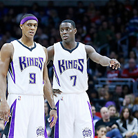 16 January 2016: Sacramento Kings guard Rajon Rondo (9) talks to Sacramento Kings guard Darren Collison (7) during the Sacramento Kings 110-103 victory over the Los Angeles Clippers, at the Staples Center, Los Angeles, California, USA.