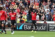 Romelu Lukaku of Manchester Utd (9) celebrates after he scores his teams 2nd goal.   Premier league match, Swansea city v Manchester Utd at the Liberty Stadium in Swansea, South Wales on Saturday 19th August 2017.<br /> pic by  Andrew Orchard, Andrew Orchard sports photography.
