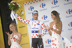 July 28, 2018 - Espelette, FRANCE - French Julian Alaphilippe of Quick-Step Floors celebrates on the podium in the red polka-dot jersey for best climber after the 20th stage of the 105th edition of the Tour de France cycling race, a 31km individual time trial from Saint-Pee-sur-Nivelle to Espelette, France, Saturday 28 July 2018. This year's Tour de France takes place from July 7th to July 29th...BELGA PHOTO YORICK JANSENS (Credit Image: © Yorick Jansens/Belga via ZUMA Press)