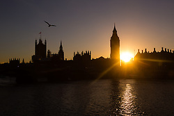 © Licensed to London News Pictures. 18/02/2016. London, UK. Clear sky during sunset behind Big Ben and the Houses of Parliament on the River Thames in London this evening. Photo credit : Vickie Flores/LNP