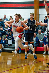14 January 2020: Boys Basketball game between the Ridgeview Mustangs and the Heyworth Hornets in Heyworth High School, Heyworth IL