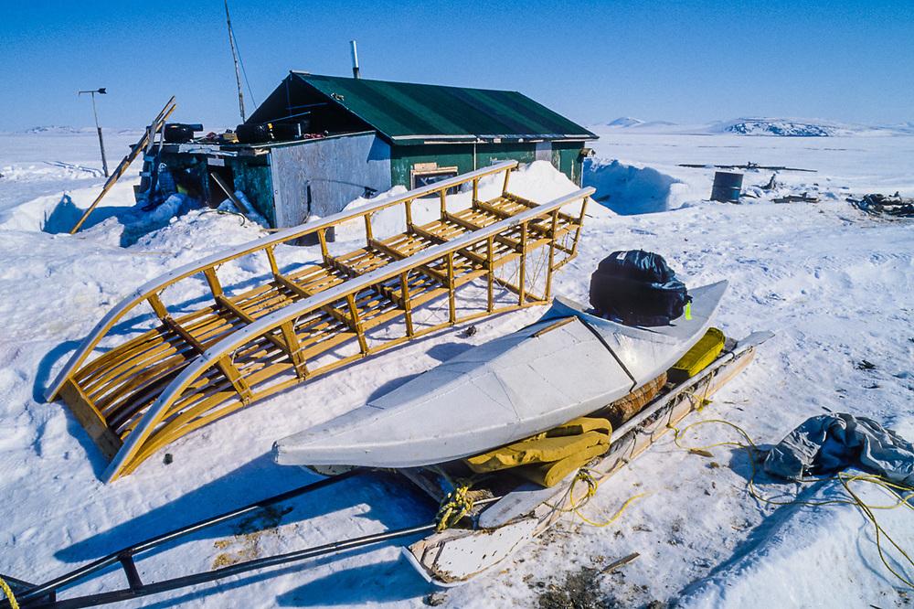 Seal hunt preparation, native allotment, Chukchi Sea, Cape Krusenstern National Monument, Alaska, USA