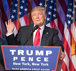 President-elect DONALD TRUMP speaks to supporters at the Election Night Party at the Hilton Midtown Hotel. (Credit Image: © J. Conrad Williams Jr./Newsday/TNS via ZUMA Wire)