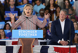 Hillary Clinton rallies supporters as she campaigns with former vice president Al Gore on Tuesday, October 11, 2016 at Miami Dade College Kendall Campus in Miami, FL, USA. Photo by Pedro Portal/Miami Herald/TNS/ABACAPRESS.COM
