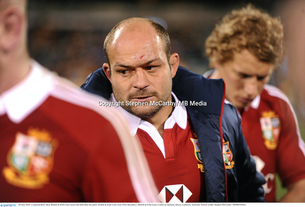 18 June 2013; A dejected Rory Best, British & Irish Lions, leaves the field after the game. British & Irish Lions Tour 2013, Brumbies v British & Irish Lions. Canberra Stadium, Bruce, Canberra, Australia. Picture credit: Stephen McCarthy / SPORTSFILE