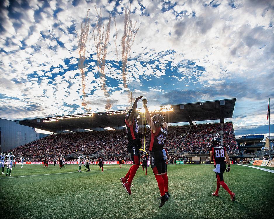 Saskatchewan Roughriders at Ottawa RedBlacks.<br /> <br /> TD Place Stadium, Ottawa, ON. Canada.<br /> <br /> June 20, 2019.<br /> <br /> PHOTO: Steve Kingsman / Freestyle Photography for Ottawa Redblacks