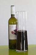 Bottles and decanters. Merlot Alfaraz 2004. Henrque HM Uva, Herdade da Mingorra, Alentejo, Portugal