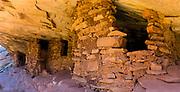 "Panoramic image of the abandoned Anasazi ruins called ""House on Fire,"" in Mule Canyon, Comb Ridge, San Juan County, Utah, USA."
