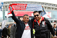 Liverpool fans outside the stadium prior to kick off. Capital One Cup Final, Liverpool v Manchester City at Wembley stadium in London, England on Sunday 28th Feb 2016. pic by Chris Stading, Andrew Orchard sports photography.