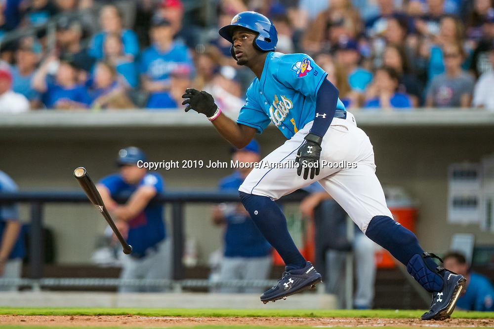 Amarillo Sod Poodles outfielder Taylor Trammell (7) hits a home run against the Tulsa Drillers during the Texas League Championship on Wednesday, Sept. 11, 2019, at HODGETOWN in Amarillo, Texas. [Photo by John Moore/Amarillo Sod Poodles]