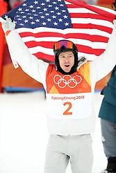 February 14, 2018 - PyeongChang, South Korea - SHAUN WHITE of USA celebrates winning a gold medal in Snowboard Men's Halfpipe Final at Phoenix Snow Park during the 2018 Pyeongchang Winter Olympic Games. (Credit Image: © Scott Mc Kiernan via ZUMA Wire)