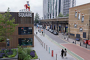 The iconic Elephant at Elephant and Castle in south London, has returned after restoration, to its new place overlooking Elephant Square, on 24th June 2021, in London, England. The statue, a replica of the one that stood above the Elephant and Castle pub from 1898 to 1959, was taken down earlier this year from outside the recently demolished shopping centre.