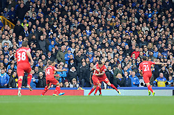 Liverpool's Philippe Coutinho celebrates his goal. - Photo mandatory by-line: Dougie Allward/JMP - Tel: Mobile: 07966 386802 23/11/2013 - SPORT - Football - Liverpool - Merseyside derby - Goodison Park - Everton v Liverpool - Barclays Premier League