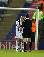 Photo: Rich Eaton.<br /> <br /> West Bromwich Albion v Sheffield Wednesday. Coca Cola Championship. 13/04/2007. West Brom skipper Paul Robinson argues with referee Mr Swarbrick after Wednesday goal
