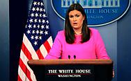 PRESS SECRETARY SARAH SANDERS in the White House Press Briefing room on July 31, 2017<br /><br />Photo by Dennis Brack