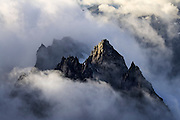 Low clouds envelope Dorado Needle, North Cascades National Park, Washington.