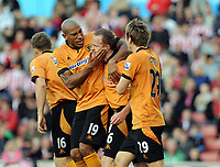 Britannia Stadium Stoke City v Wolverhampton Wanderers (2-2)  31/10/09<br /> Jody Craddock  (Wolves) celebrates his  second goal with  Chris Iwelumo<br /> Photo Roger Parker Fotosports International