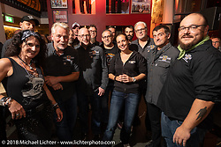 The Custom Chrome Europe team at their party during the Intermot International Motorcycle Fair. Cologne, Germany. Friday October 5, 2018. Photography ©2018 Michael Lichter.