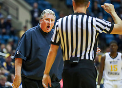 Nov 28, 2018; Morgantown, WV, USA; West Virginia Mountaineers head coach Bob Huggins argues a call during the first half against the Rider Broncs at WVU Coliseum. Mandatory Credit: Ben Queen-USA TODAY Sports