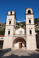 Cathedral of St. Tryfon - Kotor, Montenegro . The old Mediterranean port of Kotor is surrounded by fortifications built during the Venetian period. It is located on the Bay of Kotor (Boka Kotorska), one of the most indented parts of the Adriatic Sea. Some have called it the southernmost fjord in Europe, but it is a ria, a submerged river canyon. .<br /> <br /> Visit our MONTENEGRO HISTORIC PLAXES PHOTO COLLECTIONS for more   photos  to download or buy as prints https://funkystock.photoshelter.com/gallery-collection/Pictures-Images-of-Montenegro-Photos-of-Montenegros-Historic-Landmark-Sites/C0000AG8SdQ.sYLU