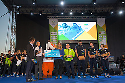 Miro Cerar and Telekom gift during reception of Slovenian Olympic Team at BTC City when they came back from Rio de Janeiro after Summer Olympic games 2016, on August 26, 2016 in Ljubljana, Slovenia. Photo by Matic Klansek Velej / Sportida