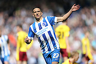 Brighton striker, Anthony Knockaert (27) celebrates after scoring to make it 2-1 to Brighton just before half time during the Sky Bet Championship match between Brighton and Hove Albion and Burnley at the American Express Community Stadium, Brighton and Hove, England on 2 April 2016.