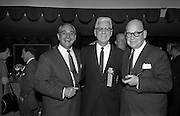 13/05/1962<br /> 05/13/1962<br /> 13 May 1962<br /> Variety Club Convention Cocktail Party at the Shelbourne Hotel, Dublin. Pictured are (l-r): Jimmy Carreras, Managing Director, Hammer Films, London, 2nd International Club Barker; Rotus Harvey U.S. 1st International Chief Barker and Jack Goodlatte, Managing Director A.B.C. London, Elder Statesman, Variety Club International.