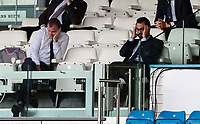 Leeds United director of football (right) Victor Orta, and chief executive Angus Kinnear react<br /> <br /> Photographer Alex Dodd/CameraSport<br /> <br /> The EFL Sky Bet Championship - Leeds United v Barnsley - Thursday 16th July 2020 - Elland Road - Leeds<br /> <br /> World Copyright © 2020 CameraSport. All rights reserved. 43 Linden Ave. Countesthorpe. Leicester. England. LE8 5PG - Tel: +44 (0) 116 277 4147 - admin@camerasport.com - www.camerasport.com