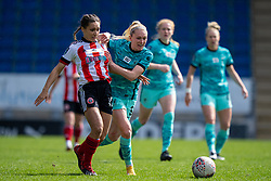 CHESTERFIELD, ENGLAND - Sunday, April 25, 2021: Liverpool's Amalie Thestrup (R) and Sheffield United's Rhema Lord-Mears during the FA Women's Championship game between Sheffield United FC Women and Liverpool FC Women at the Technique Stadium. Liverpool won 1-0. (Pic by David Rawcliffe/Propaganda)