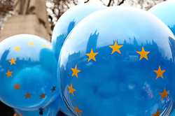 © Licensed to London News Pictures. 10/12/2018. London, UK. EU flag balloons fly  in Westminster as Theresa May prepares to make a statement in Parliament. Photo credit: Rob Pinney/LNP