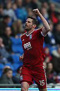 Lukas Jutkiewicz of Birmingham city celebrates after he scores his teams 1st goal to equalise at 1-1. EFL Skybet championship match, Cardiff city v Birmingham City at the Cardiff City Stadium in Cardiff, South Wales on Saturday 11th March 2017.<br /> pic by Andrew Orchard, Andrew Orchard sports photography.