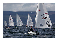 Aaron Smith, GBR-195115.Opening races in breezy conditions for the Laser Radial World Championships, taking place at Largs, Scotland GBR. ..118 Women from 35 different nations compete in the Olympic Women's Laser Radial fleet and 104 Men from 30 different nations. .All three 2008 Women's Laser Radial Olympic Medallists are competing. .The Laser Radial World Championships take place every year. This is the first time they have been held in Scotland and are part of the initiaitve to bring key world class events to Britain in the lead up to the 2012 Olympic Games. .The Laser is the world's most popular singlehanded sailing dinghy and is sailed and raced worldwide. ..Further media information from .laserworlds@gmail.com.event press officer mobile +44 7775 671973  and +44 1475 675129 .