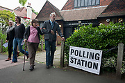A elderly voter leaves the polling station for the UK 2017 general elections outside St. Barnabas Parish Hall in Dulwich Village  on 8th June 2017, in London, England.