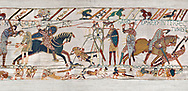 11th Century Medieval Bayeux Tapestry - Scene 57 - Harold dies after being shot in the eye with an arrow. Battle of Hastings 1066. .<br /> <br /> If you prefer you can also buy from our ALAMY PHOTO LIBRARY  Collection visit : https://www.alamy.com/portfolio/paul-williams-funkystock/bayeux-tapestry-medieval-art.html  if you know the scene number you want enter BXY followed bt the scene no into the SEARCH WITHIN GALLERY box  i.e BYX 22 for scene 22)<br /> <br />  Visit our MEDIEVAL ART PHOTO COLLECTIONS for more   photos  to download or buy as prints https://funkystock.photoshelter.com/gallery-collection/Medieval-Middle-Ages-Art-Artefacts-Antiquities-Pictures-Images-of/C0000YpKXiAHnG2k
