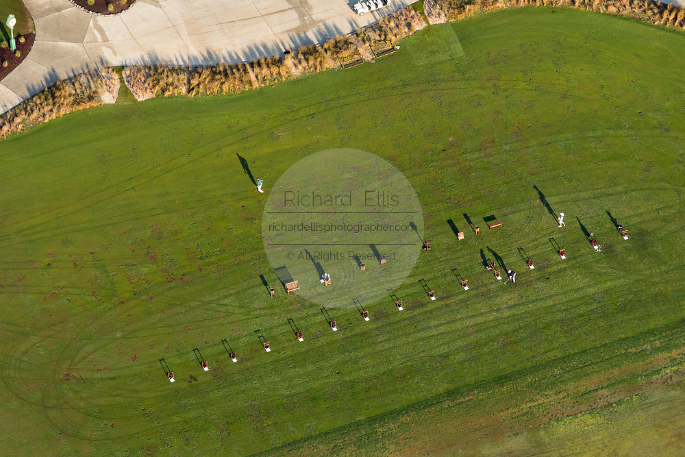 Aerial view of the Ocean Course golf resort driving range on the eastern end of Kiawah Island, South Carolina.