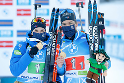 Julia Simon of France wins the gold medal, Antonin Guigonnat of France wins the gold medal during the IBU World Championships Biathlon Single Mixed Relay competition on February 18, 2021 in Pokljuka, Slovenia. Photo by Vid Ponikvar / Sportida