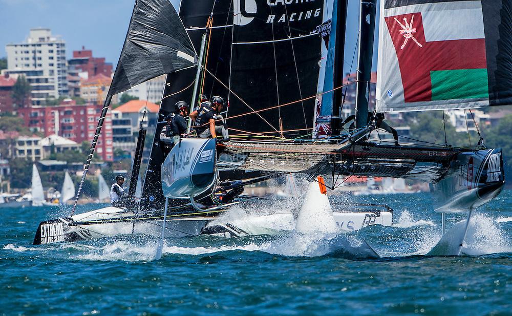 The Extreme Sailing Series 2016. Oman Air : Morgan Larson (USA) - helmsman/skipper, Pete Greenhalgh (GBR) – mainsail trimmer, Nasser Al Mashari (OMA) – bowman, Ed Smyth (NZL/AUS) - trimmer, James Wierzbowski (AUS) – bowman. Act 8.Sydney,Australia. 8th-11th December 2016. Credit - Jesus Renedo/Lloyd Images