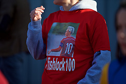 YSTRAD MYNACH, WALES - Wednesday, April 5, 2017: A member of Jessica Fishlock's family shows their support with a t-shirt during the Women's International Friendly match against Northern Ireland at Ystrad Mynach. (Pic by Laura Malkin/Propaganda)