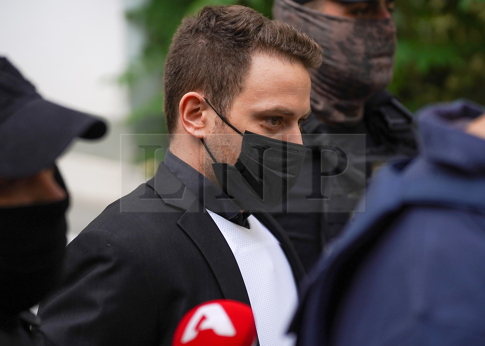 © Licensed to London News Pictures. 18/06/2021. Athens, Greece. Babis Anagnostopoulos, the husband of Caroline Crouch, leaves at a magistrate's office in Athens. Mr Anagnostopoulos confessed he killed his wife after she threatened to leave him and take their 11-month-old daughter with her following an argument. Photo credit: Ioannis Alexopoulos/LNP