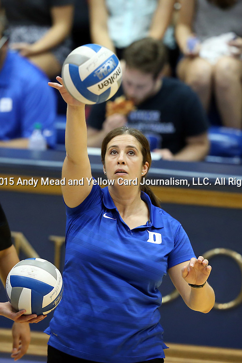 11 September 2015: Duke assistant coach Cristina Robertson. The Duke University Devils hosted the Stanford University Cardinal at Cameron Indoor Stadium in Durham, NC in a 2015 NCAA Division I Women's Volleyball contest. Stanford won the match 3-2 (17-25, 25-22, 17-25, 25-23, 10-15).