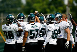 Bethlehem, PA - August 2nd 2008 - Eagles Linebackers come in as a group during the Philadelphia Eagles Training Camp at Lehigh University (Photo by Brian Garfinkel)