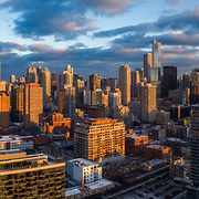 Drone's view panoramic 380 feet above an empty parcel in Chicago looking southeasterly with Loop and Near North Side sections of downtown.