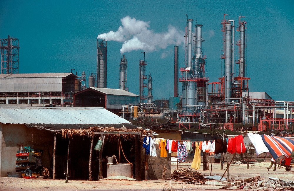 MEXICO, INDUSTRY, PETROLEUM Oil refinery and worker's homes near the petrochemical plant in Minatitlan, on the Gulf Coast in Veracruz State
