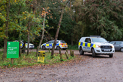 © Licensed to London News Pictures. 24/10/2020. Watlington Hill, UK. Police vehicles in the carpark at the Watlington Hill National Trust Estate. A murder investigation has been launched by Thames Valley Police after the body of a woman in her sixties was located in woodland in the Watlington Hill National Trust Estate at approximatly 5:53pm on Friday 23/10/2020. Photo credit: Peter Manning/LNP