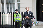 London, UK. Wednesday 10th April 2013. Mark Thatcher, son of former British Prime Minister Margaret Thatcher, makes a statement outside his late mother's house in London.