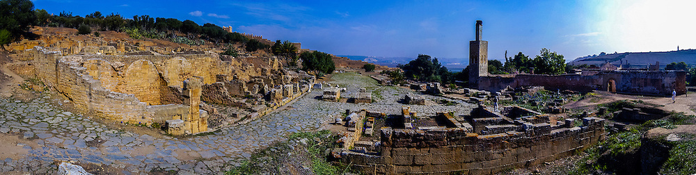 Panorama. Chellah or Sala Colonia is a complex of ancient Roman and medieval ruins at Rabat, Morocco.