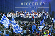 Brighton players on stage during the Brighton & Hove Albion Football Club Promotion Parade at Brighton Seafront, Brighton, United Kingdom on 14 May 2017. Photo by Phil Duncan.