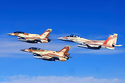 A formation of 2 F16 and one F15 Israeli Air Force fighter jets