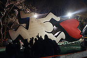 Keith Haring Art Balloon at The Macy's Balloon Inflation session held at West 79th and Central Park West on November 26, 2008 in New York City..A tradition since 1927, the giant character balloons are slowly blown up and brought to life in the streets around the American Museum of Natural History. The enormous balloons take up two full city blocks. Nets and sandbags are used to keep the balloons from escaping during the night.